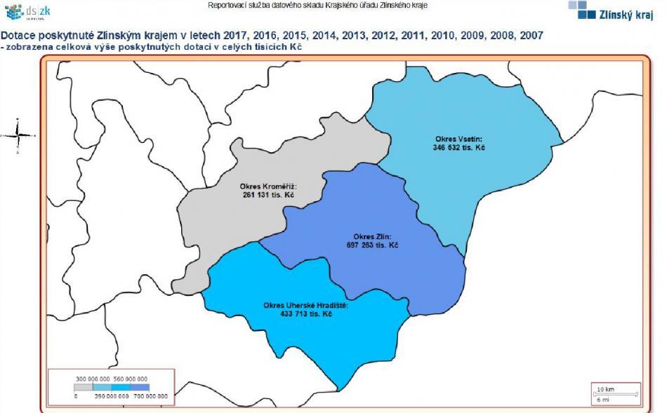 Rozdělení dotací podle okresů