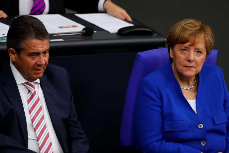 Sigmar Gabriel a Angela Merkelová