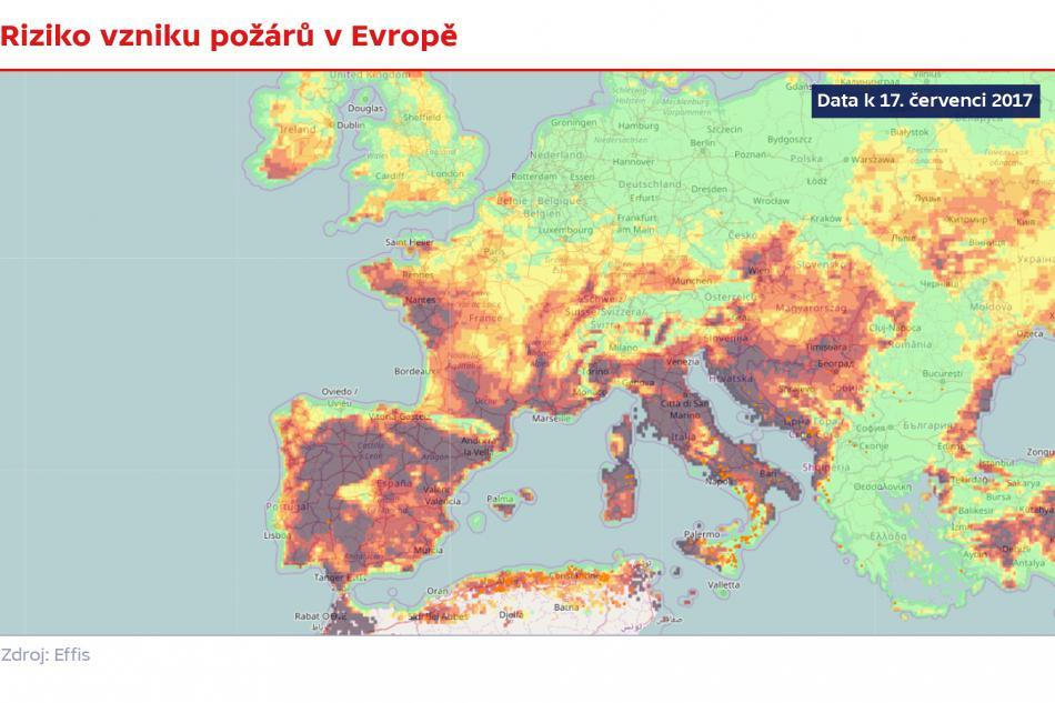 Riziko vzniku požáru v Evropě (k 17. červenci 2017)