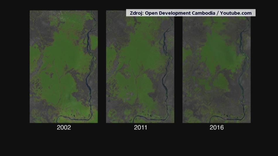 Proměna kambodžského pralesa v důsledku kácení