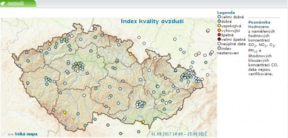Kvalita ovzduší v ČR 1.9.2017