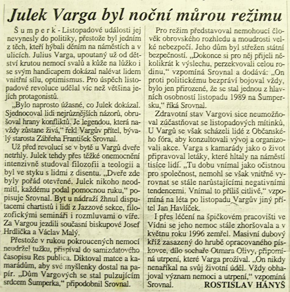 Článek o Juliu Vargovi v novinách