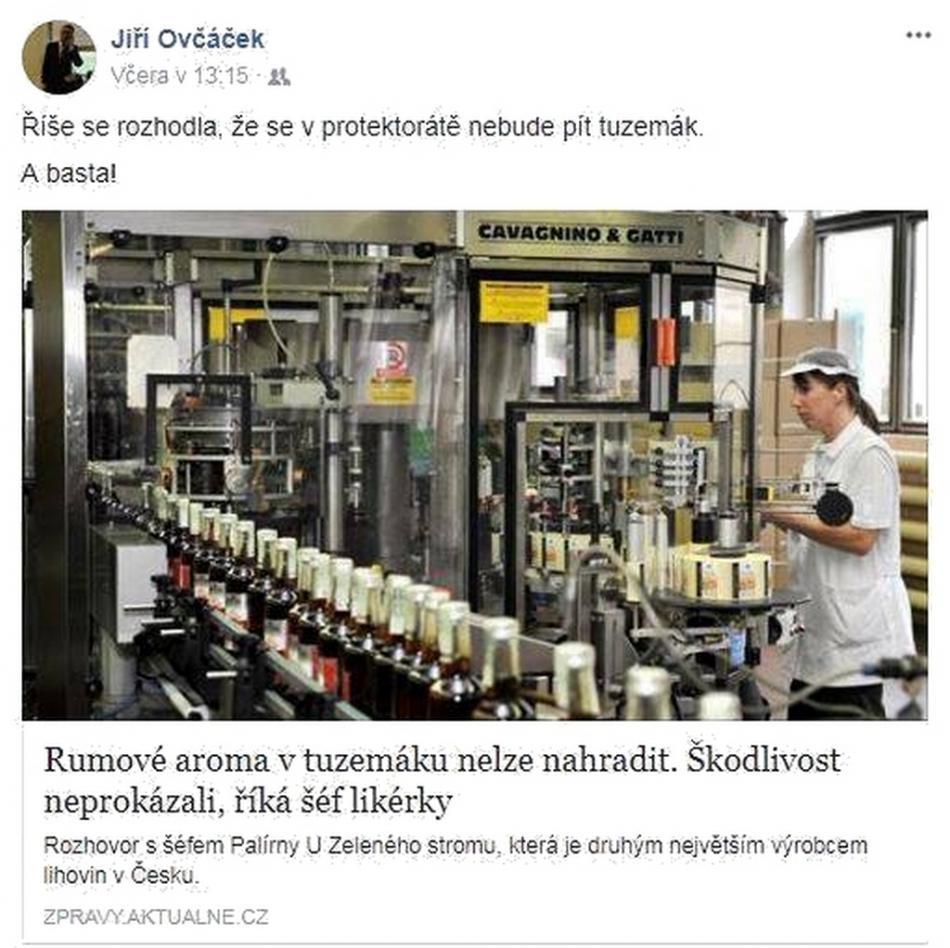 Příspěvek Jiřího Ovčáčka na facebooku