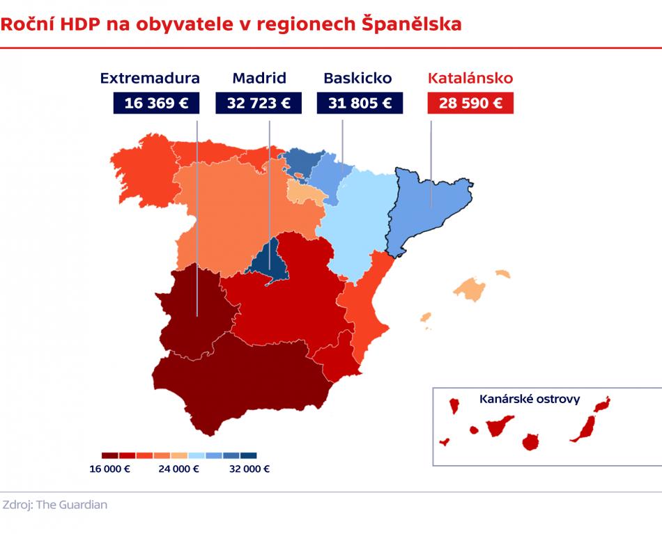 Roční HDP na obyvatele v regionech Španělska