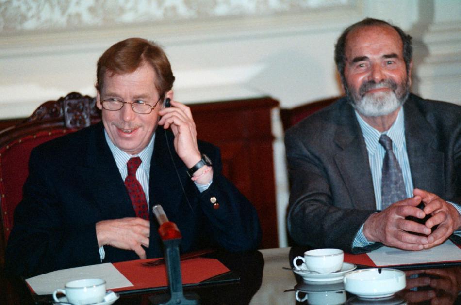 S Václavem Havlem na návštěvě belgického parlamentu (1990)