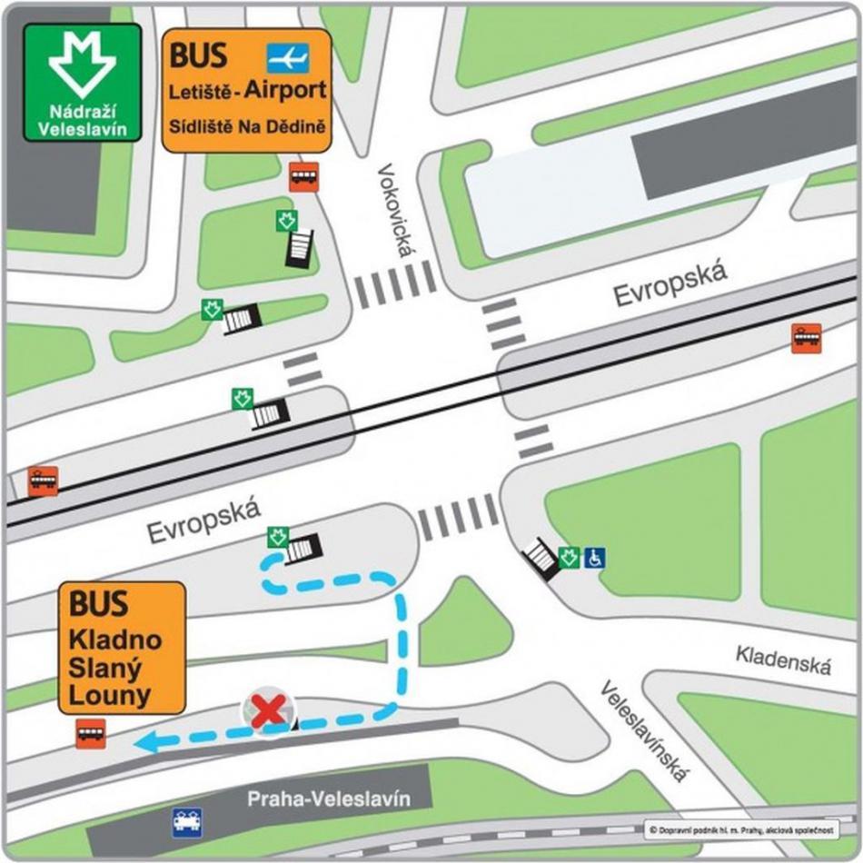 Přemístění autobusových zastávek v terminálu Nádraží Veleslavín