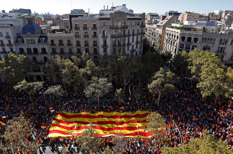 Demonstrace v Barceloně za jednotu Španělska