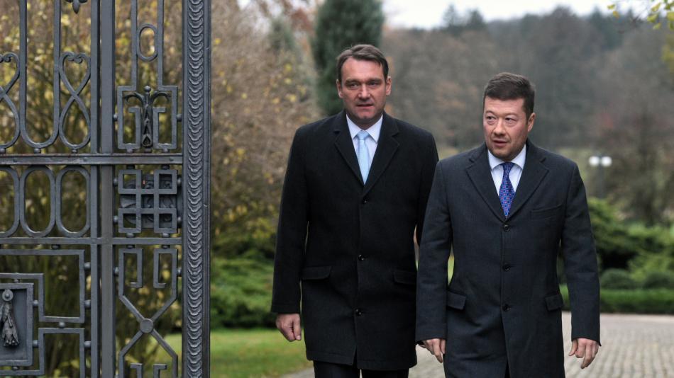 Předseda SPD Tomio Okamura a místopředseda SPD Radim Fiala v Lánech