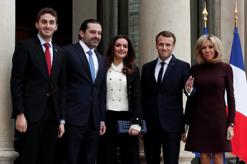 Francouzský prezidentský pár přijal Harírího s manželkou a synem