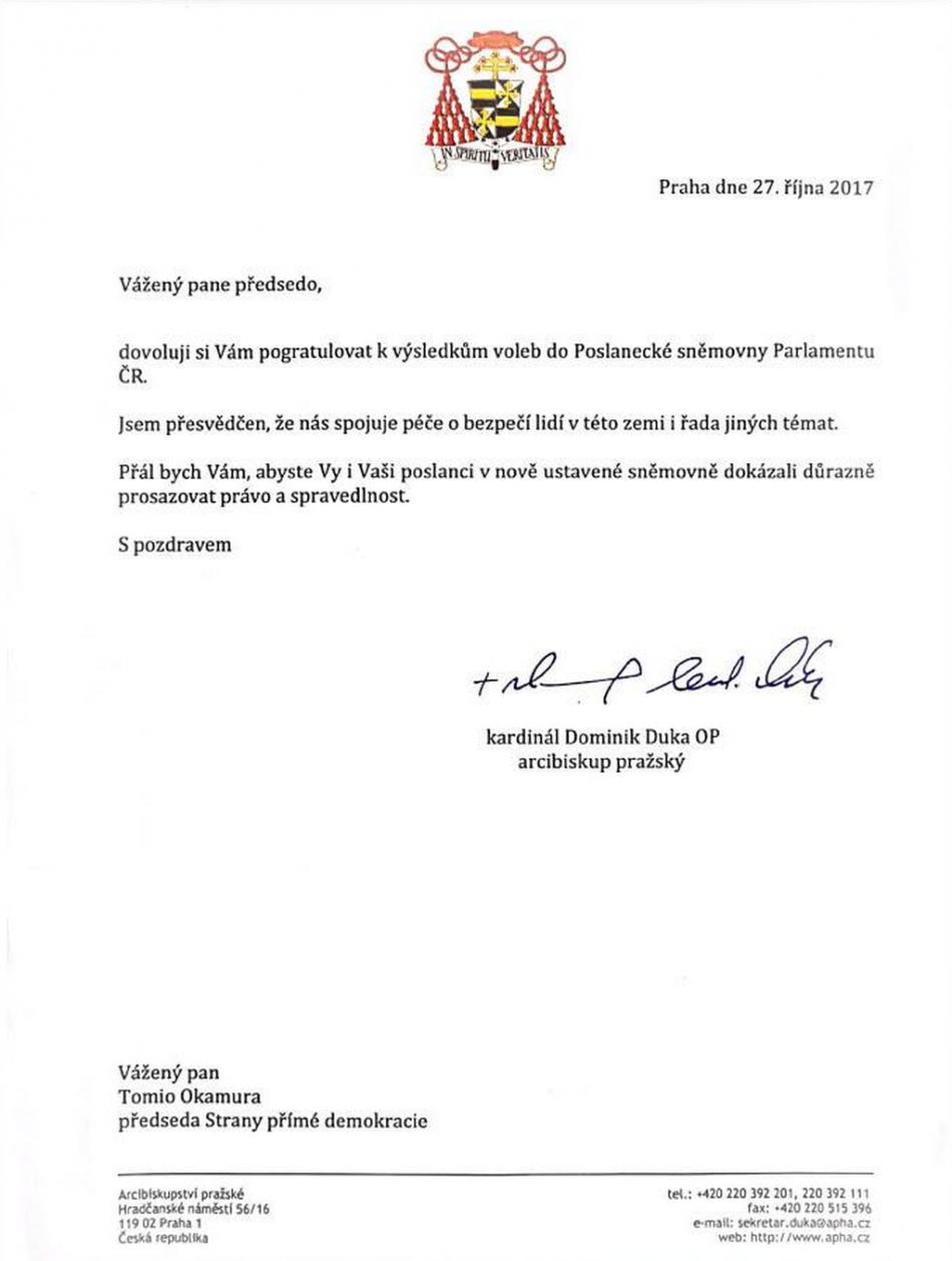 Dopis Dominika Duky šéfovi SPD Tomiu Okamurovi