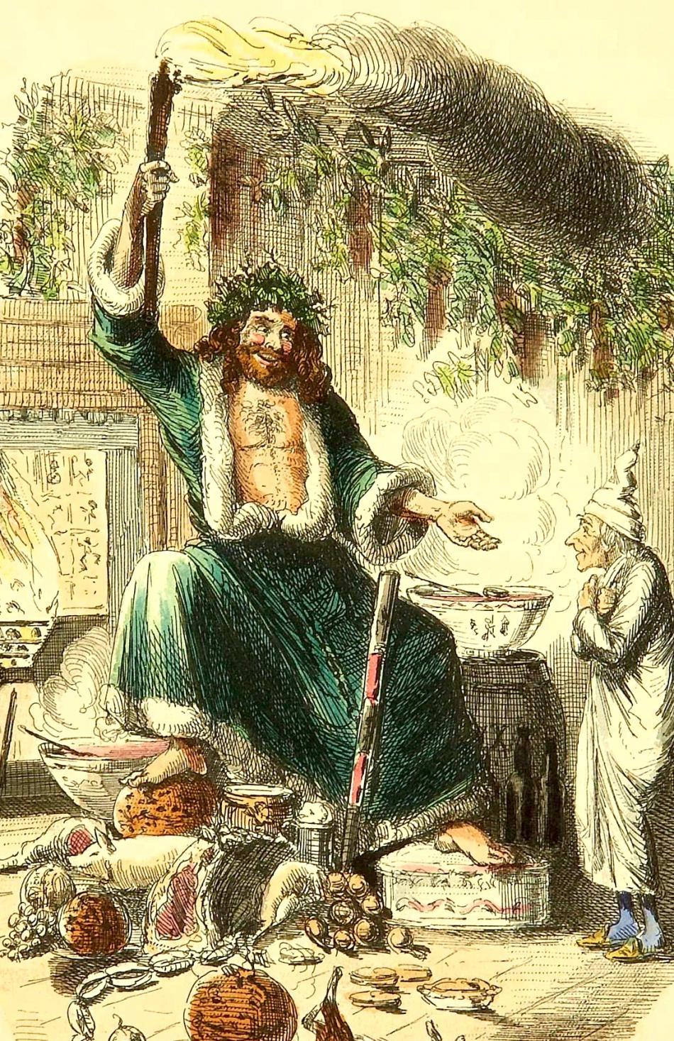 Duch přítomných Vánoc v ilustraci Johna Leeche (1843)