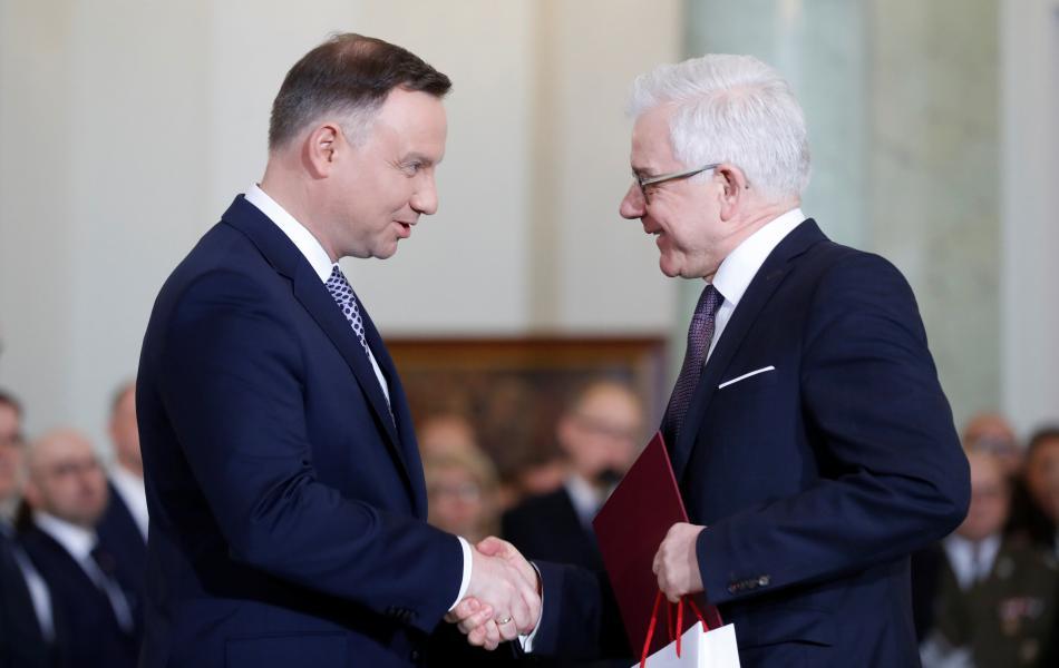Prezident Duda s novým ministrem zahraničí Jackem Czaputowiczem