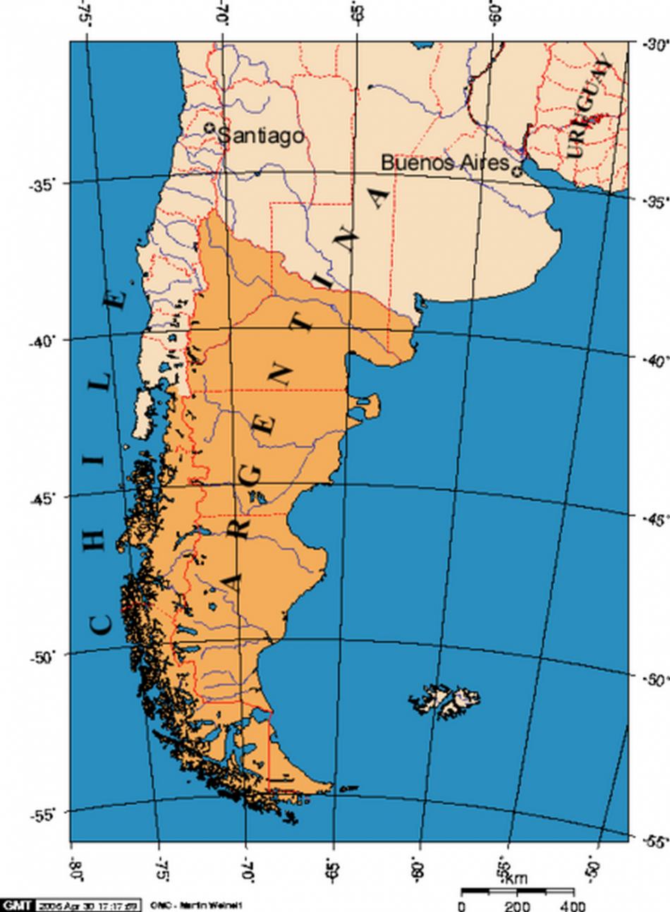 Mapa Patagonie