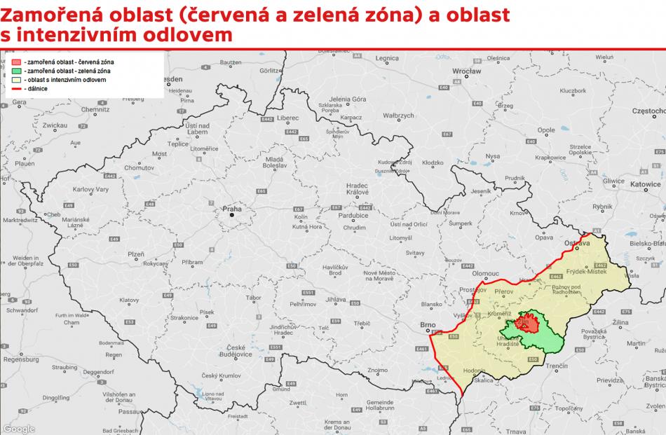 Zamořená oblast (červená a zelená zóna) a oblast s intenzivním odlovem