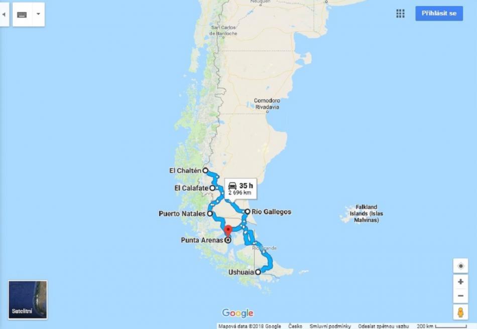 Trasa po Patagonii
