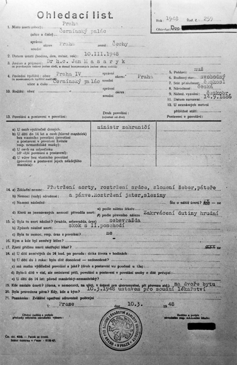 Ohledací list o smrti Jana Masaryka z roku 1948