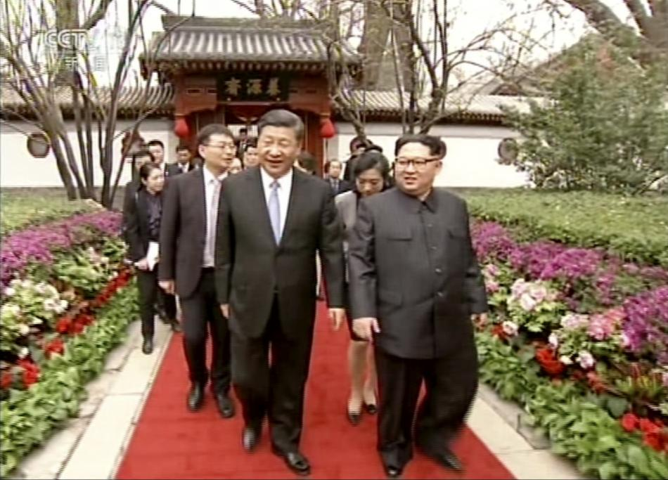 Kim Čong-un se Si Ťin-pchingem v Pekingu