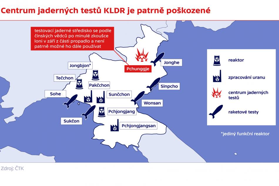 Centrum jaderných testů KLDR je patrně poškozené
