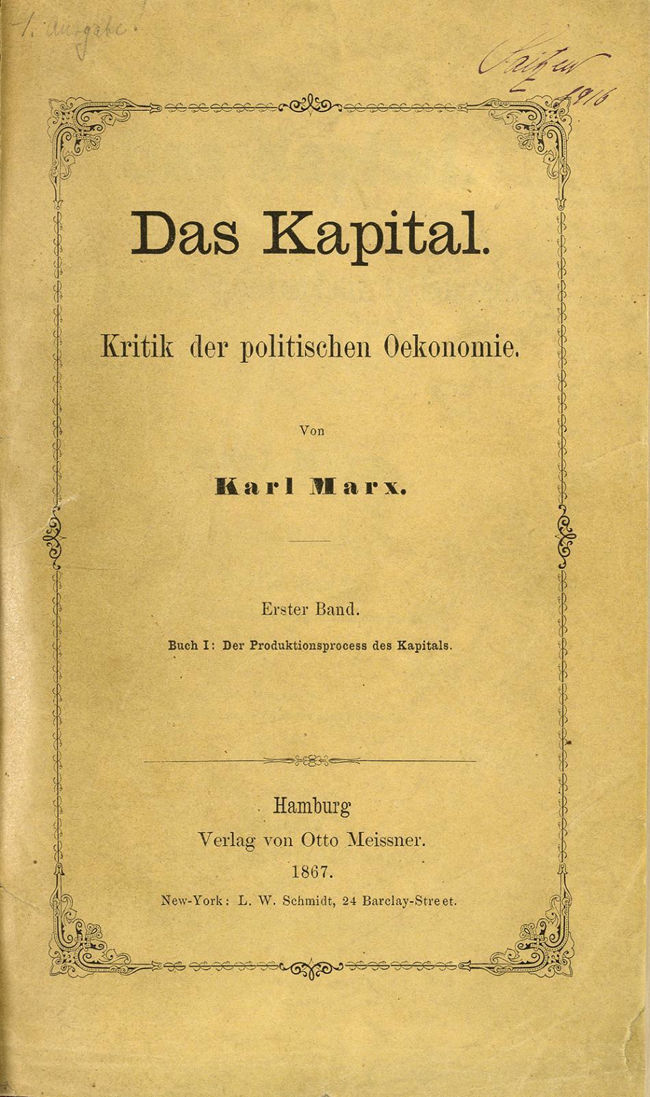Titulní strana prvního vydání Kapitálu z roku 1867