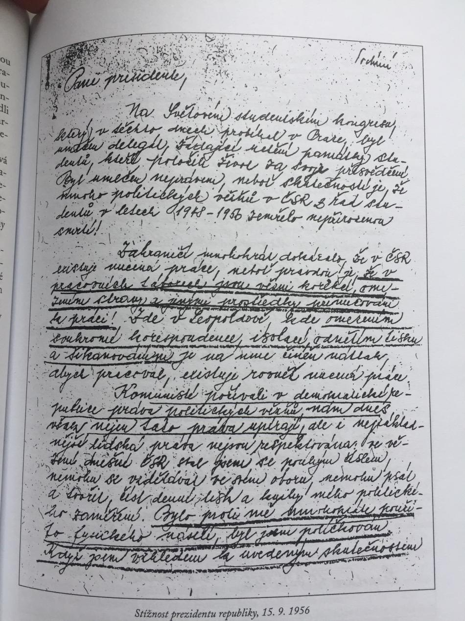 Stížnost, kterou psal Bohumil Robeš prezidentu republiky 15.9.1956