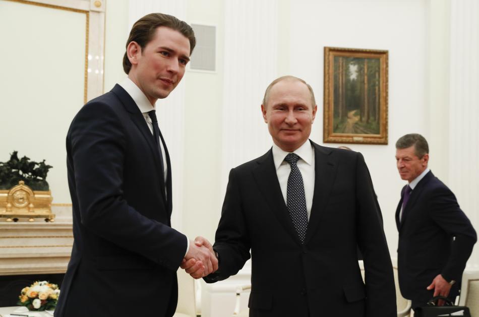 Kurz s Putinem v Kremlu v únoru 2018