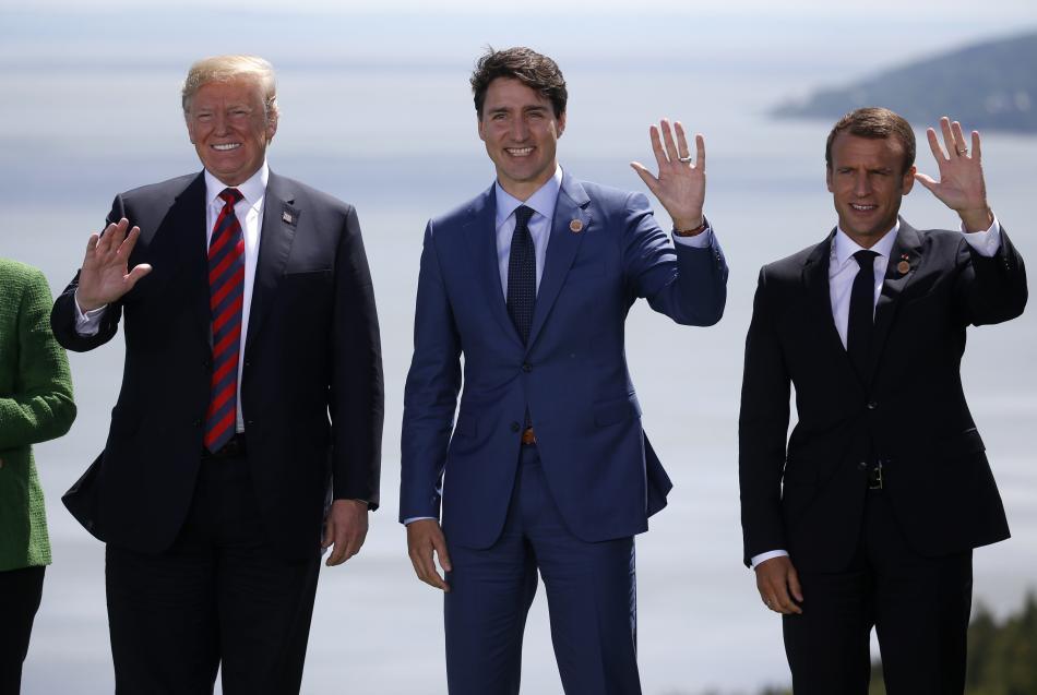 Donald Trump, Justin Trudeau a Emmanuel Macron
