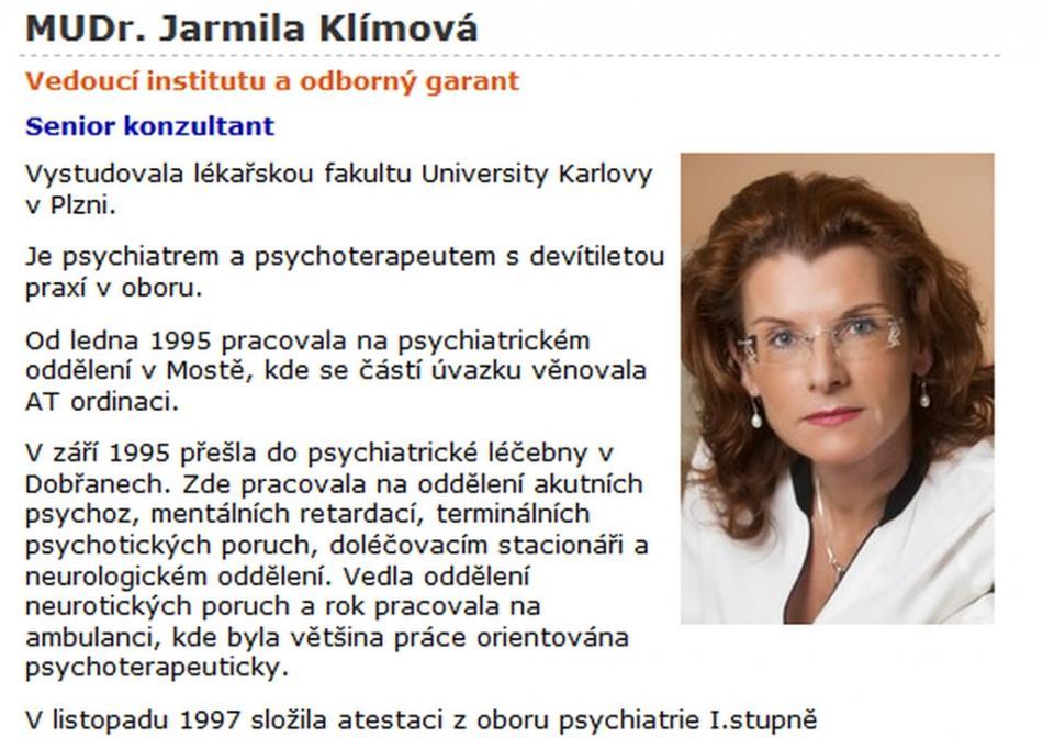 Medailonek MUDr. Jarmily Klímové