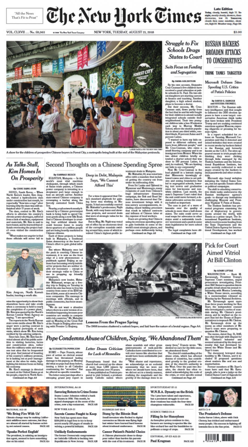 Titulní strana amerického vydání deníku The New York Times