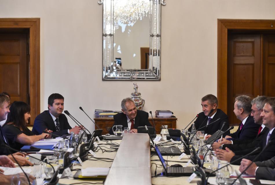 Prezident Miloš Zeman na jednání vlády při schvalování návrhu rozpočtu