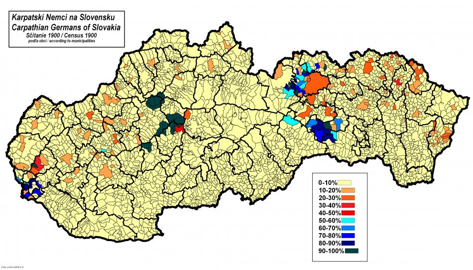 Podíl obyvatel s německým mateřským jazykem ve slovenských obcích (sčítání z roku 1900)