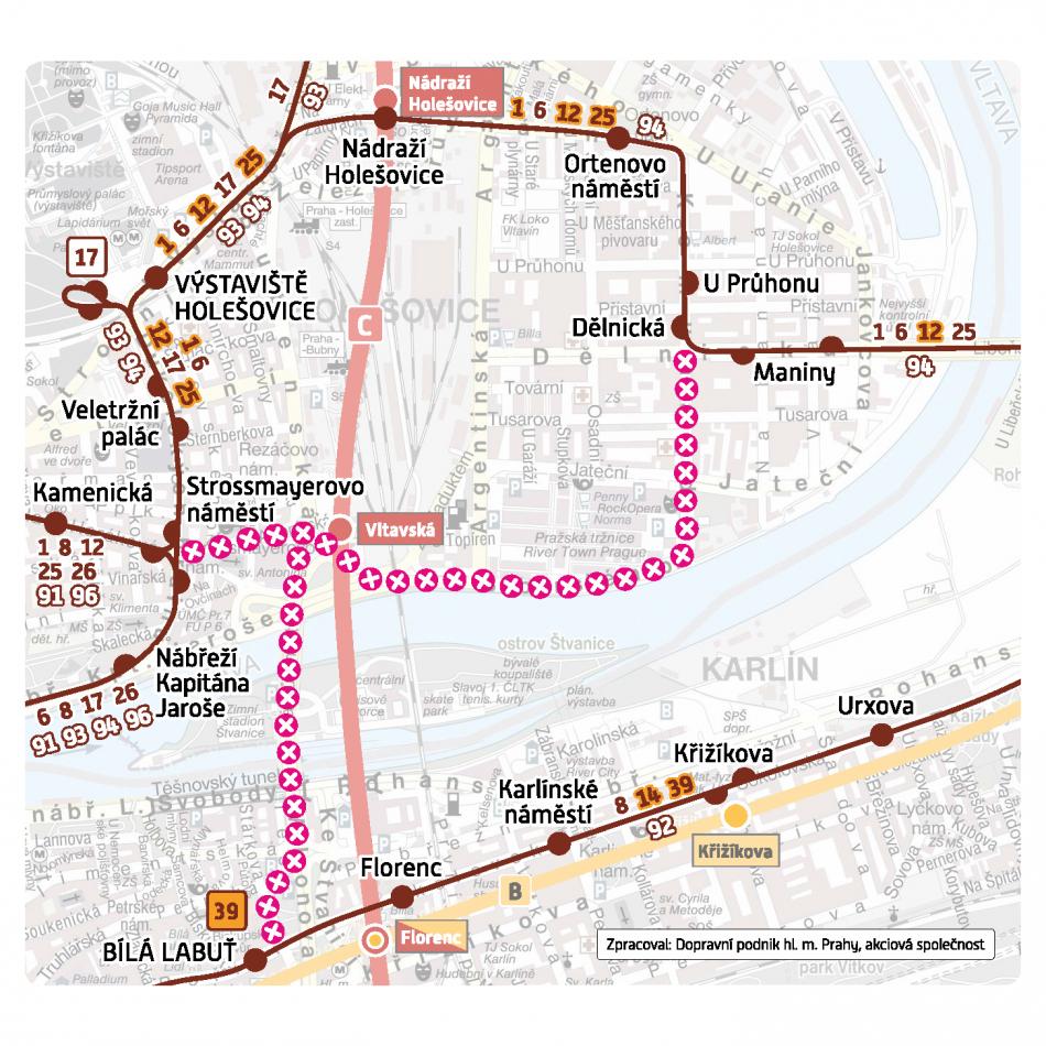 Schéma provozu tramvají po dobu uzavření mostu