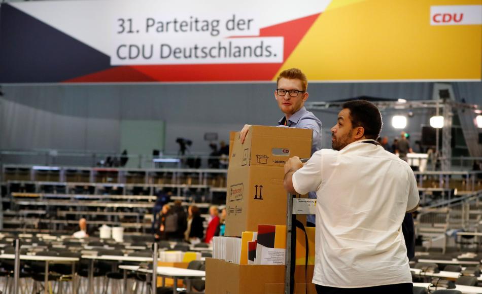 Přípravy na volební sjezd CDU v Hamburku