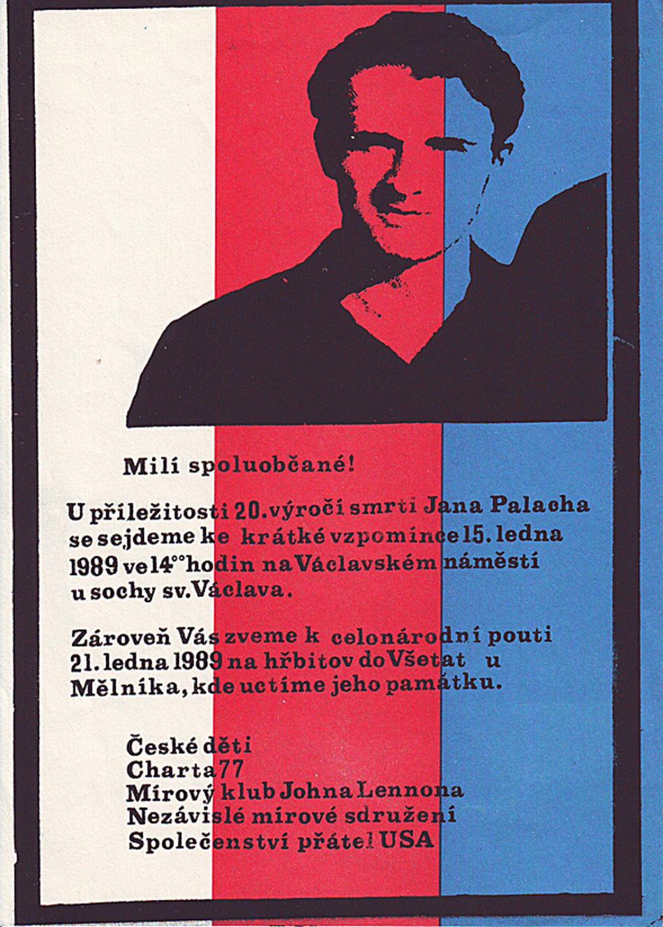 Leták s informacemi o shromážděních konaných při příležitosti 20. výročí sebeupálení Jana Palacha