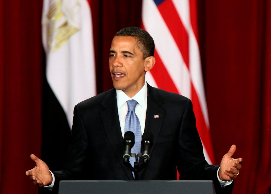 Barack Obama během projevu v Káhiře v roce 2009