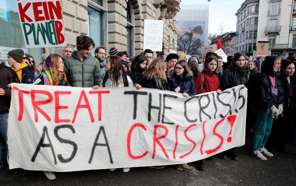 Švýcarští školáci při protestní demonstraci