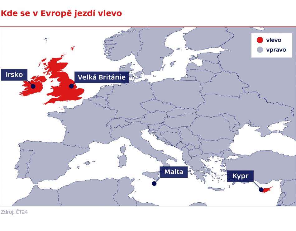 Kde se v Evropě jezdí vlevo