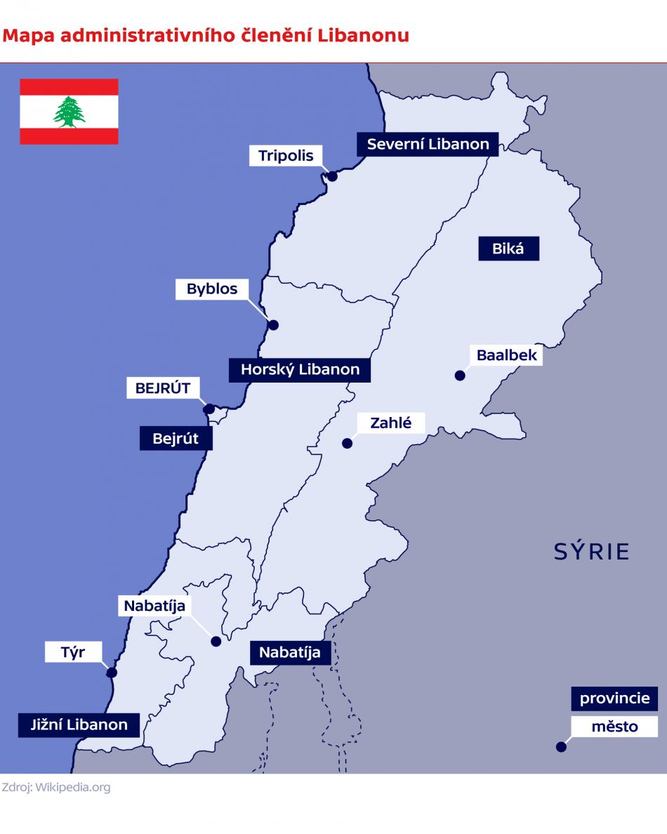 Mapa administrativního členění Libanonu