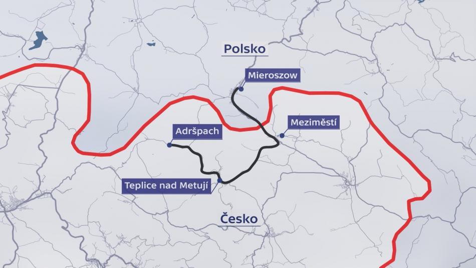 Plánové vlakové spojení z Mieroszówa do Adršpachu