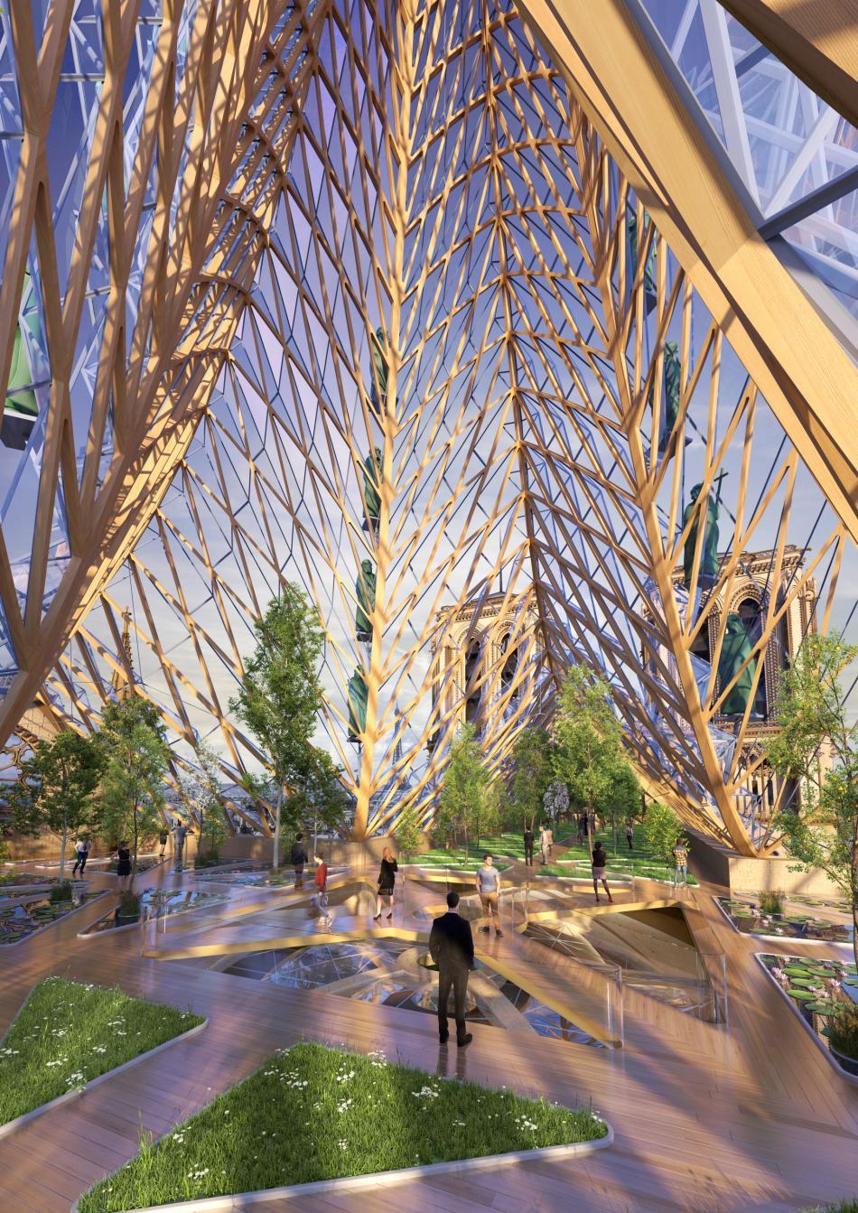 Podle návrhu Vincent Callebaut Architectures by na střeše katedrály Notre-Dame mohla být zahrada