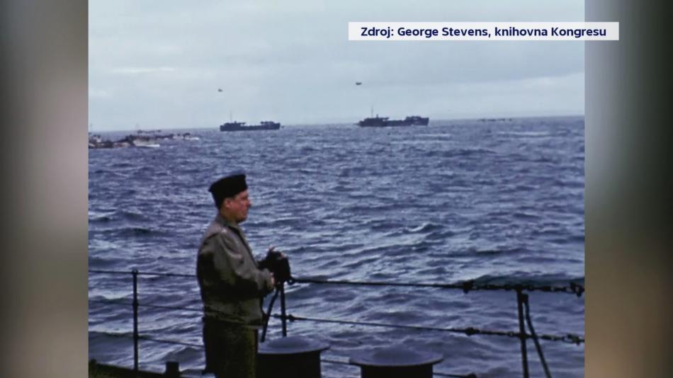 George Stevens před vyloděním v Normandii