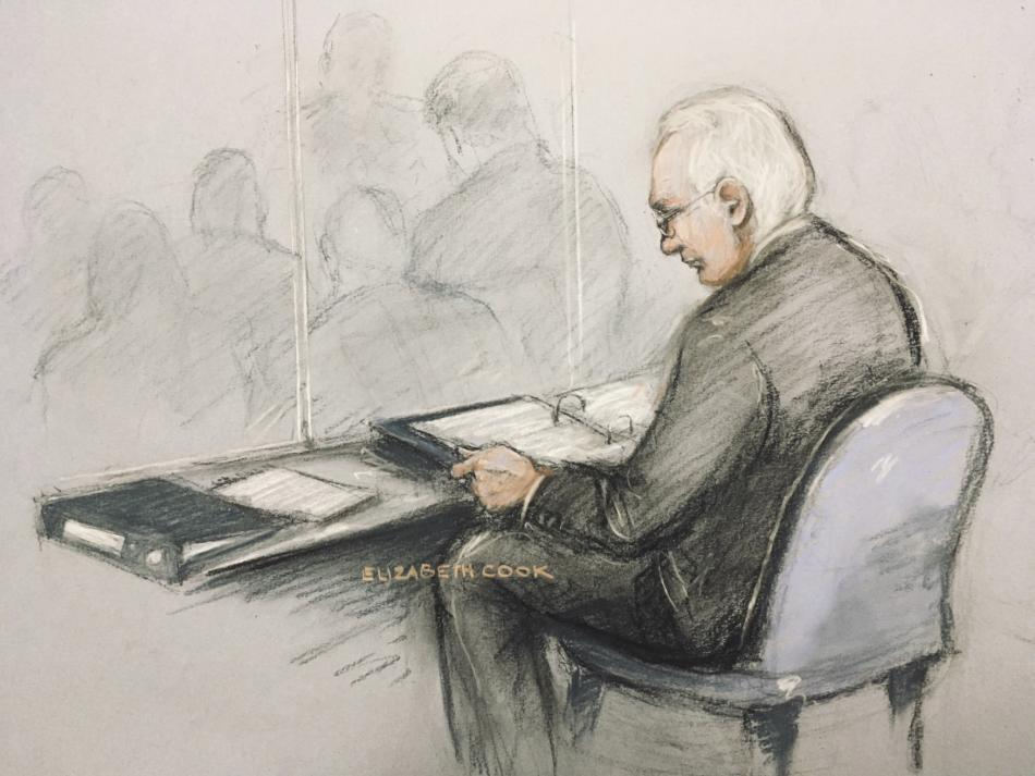 Ilustrace zachycující Juliana Assange u soudu