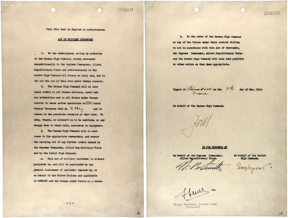 Akt kapitulace podepsaný 7.května v Remeši