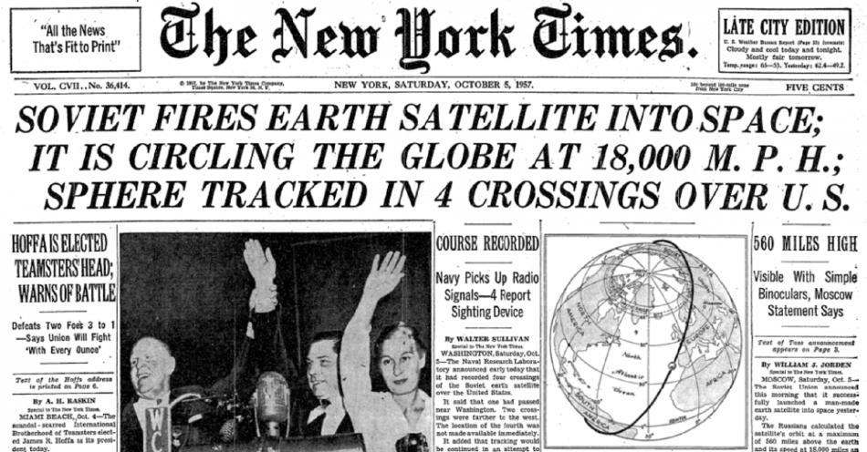 Let Sputniku do vesmíru a jeho oběh planety se dostaly na titulní stranu New York Times
