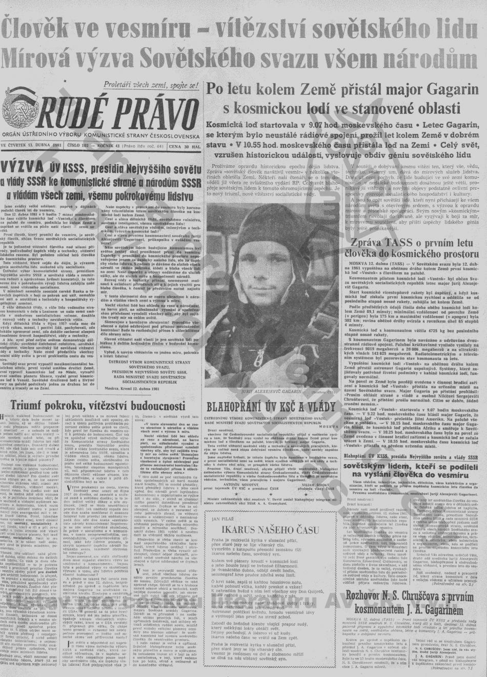 Titulní strana Rudého práva věnovaná Gagarinovu letu do vesmíru (číslo 102, ročník 41)