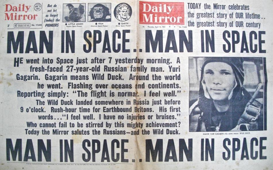 """""""Man In Space"""", úvodní článek britského deníku Daily Mirror"""