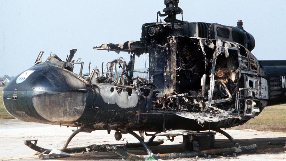 Zbytky helikoptéry, kde zahynuli izraelští sportovci