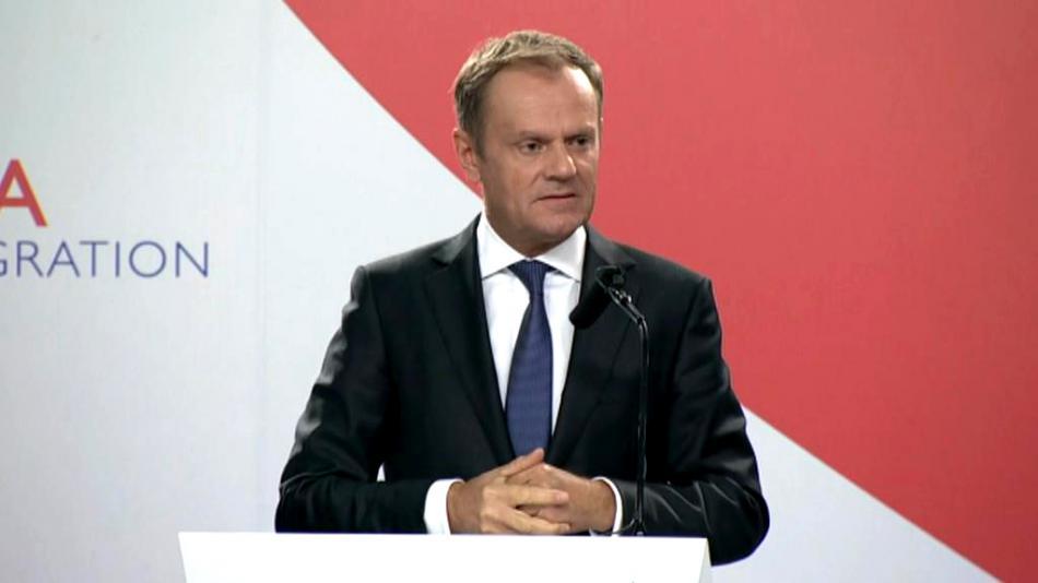Donald Tusk na brífinku po maltském summitu