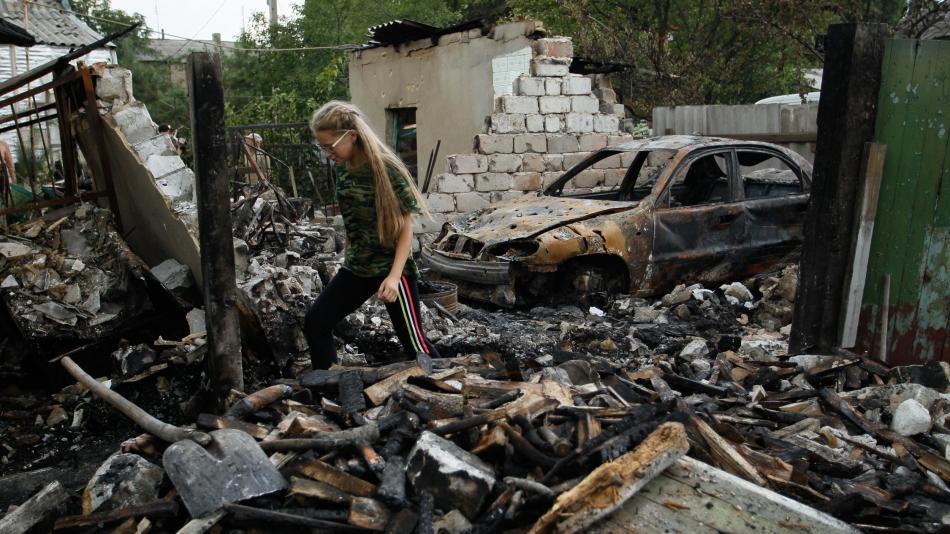 Následky bojů na Donbase