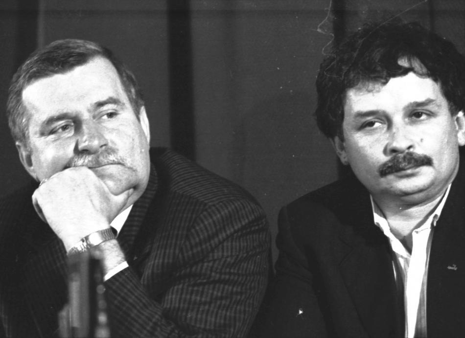 Lech Walesa a Lech Kaczynski na snímku z roku 1989